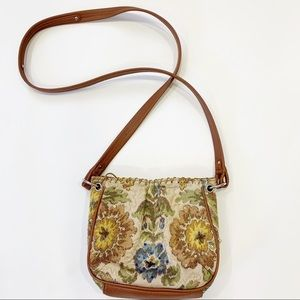 Vintage Liz Claiborne Tapestry  Crossbody Bag